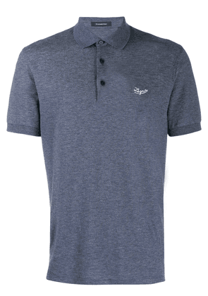 Ermenegildo Zegna logo embroidered polo shirt - Blue