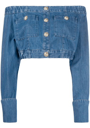 Balmain off-the shoulder buttoned cropped top - Blue