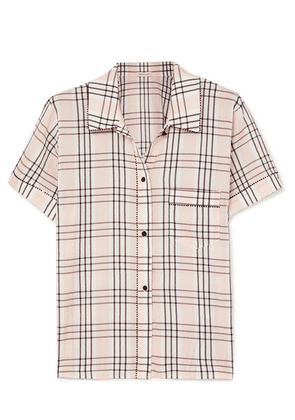 Morgan Lane - Tami Plaid Seersucker Pajama Shirt - Blush
