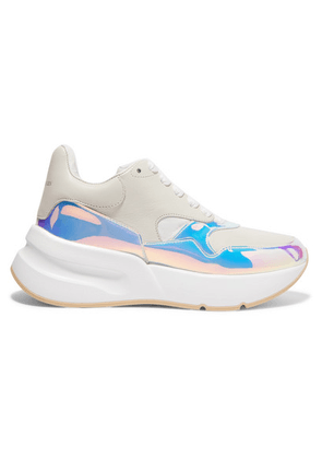 Alexander McQueen - Smooth And Iridescent Leather Exaggerated-sole Sneakers - White