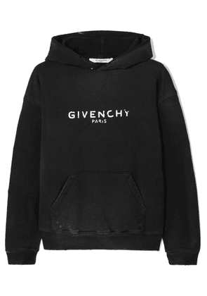 Givenchy - Distressed Printed Cotton-jersey Hoodie - Black