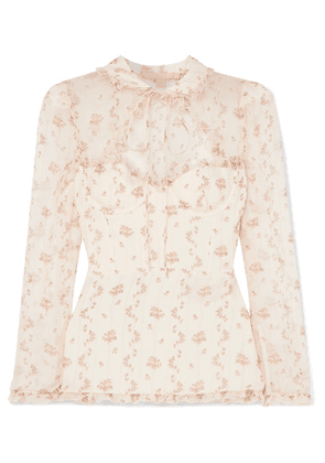 Brock Collection - Tie-neck Floral-print Silk-georgette Blouse - White