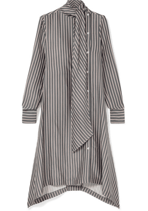 See By Chloé - Asymmetric Pussy-bow Striped Crepe De Chine Midi Dress - Gray