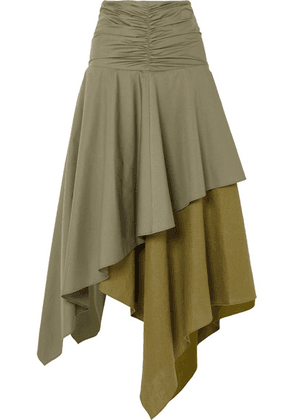 Loewe - Asymmetric Ruffled Poplin And Linen Skirt - Army green