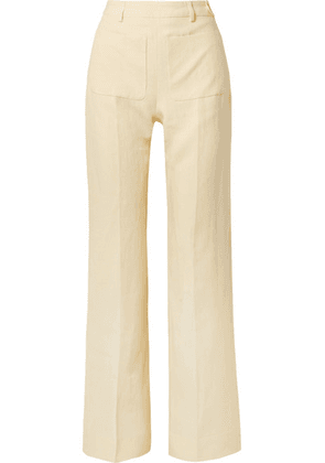 Acne Studios - Pia Linen Straight-leg Pants - Pastel yellow