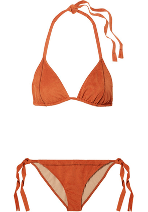 On The Island By Marios Schwab - Cobra Faux Stretch-suede Bikini - Orange
