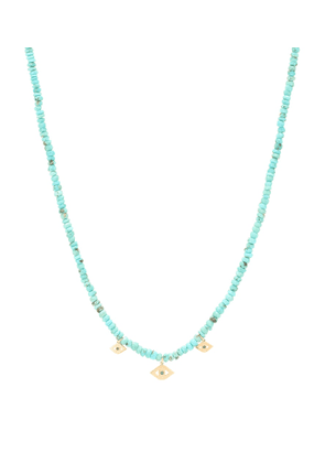 Multi Evil Eye 14kt gold and turquoise necklace with diamonds