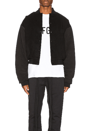 Fear of God 6th Collection Varsity Jacket in Vintage Black & Black - Black. Size L (also in XL).