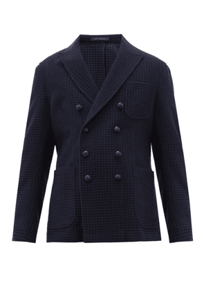 The Gigi - Double Breasted Houndstooth Blazer - Mens - Navy Multi