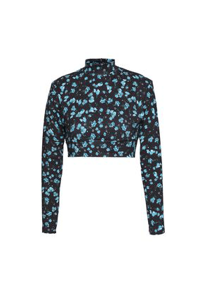 Bodyism Cropped Floral-print Stretch Top Woman Black Size S