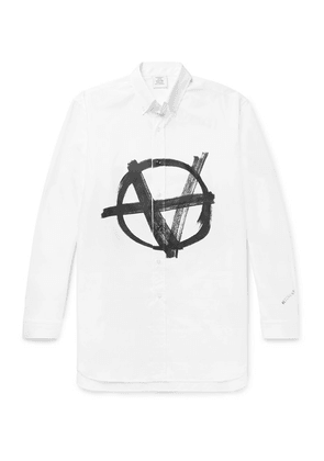 Vetements - Button-down Collar Logo-print Cotton-poplin Shirt - White