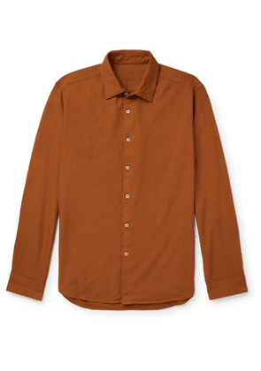 Altea - Slim-fit Brushed Cotton-twill Shirt - Brown