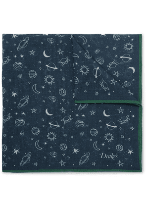 Drake's - Printed Wool And Silk-blend Pocket Square - Navy