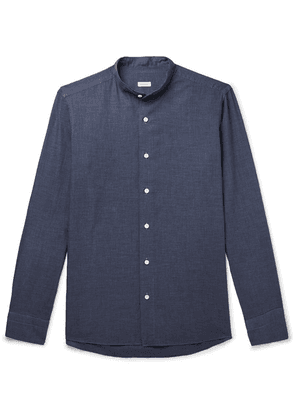 Caruso - Grandad-collar Puppytooth Cotton Shirt - Navy