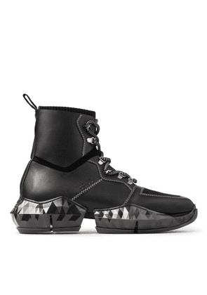 DIAMOND SPACEBOOT Black Vachetta Leather Diamond Spaceboots with Knit Detail