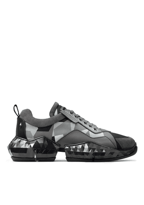 DIAMOND/M Anthracite Camo Print Nylon Diamond Trainers with Soft Leather Detail