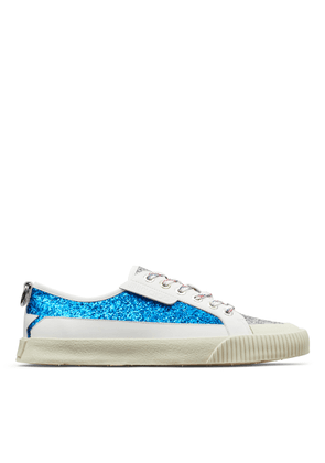 IMPALA/LO/M Red and Pop Blue Galactica Glitter Fabric Patchwork and Soft Leather Low Top Trainers