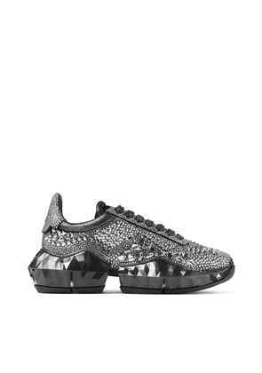 DIAMOND/F Smoke Metallic Suede Low Top Trainers with Chunky Sole and Crystal Application