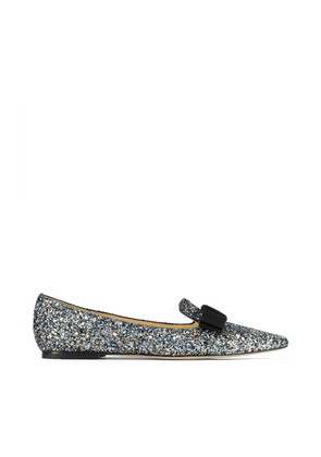GALA Electric Blue Mix Party Coarse Glitter Fabric Pointy Toe Flats