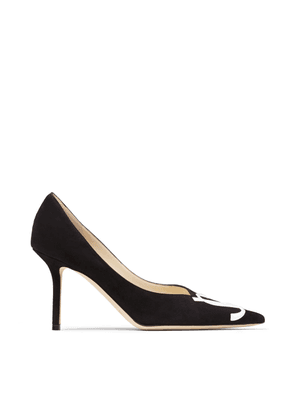 LOVE 85/JC Black Suede and White Patent Pointy Toe Pumps