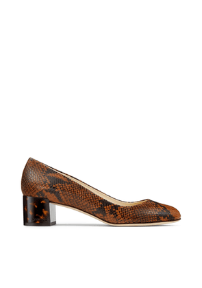 JESSIE 40 Cuoio snake printed leather pumps with tortoiseshell heel