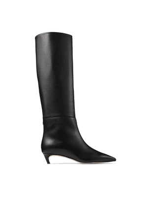 MAXIMA 35 Black Calf Leather Knee High Boots