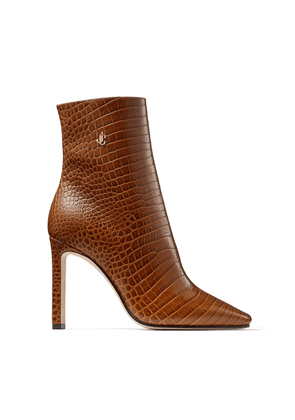 MINORI 100 Cuoio Croc Embossed Leather Ankle Boots