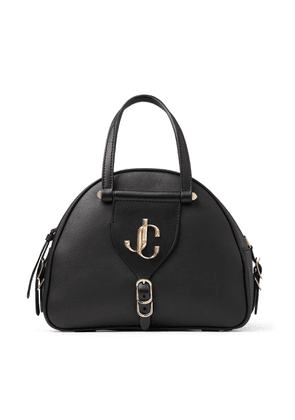 VARENNE BOWLING/S Black Calf Leather and Vacchetta Bowling Bag with JC logo