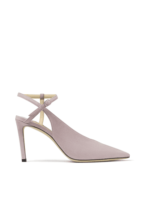 SAKEYA 85 Mauve Suede Pumps with Ankle Strap