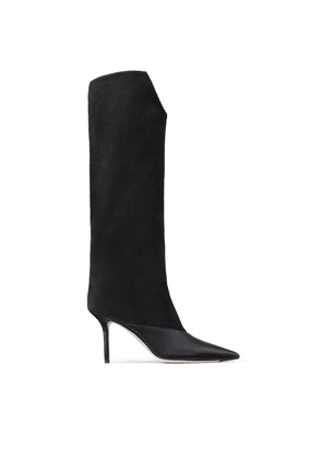 BRELAN 85 Black Calf Leather and Suede Knee-High Boots