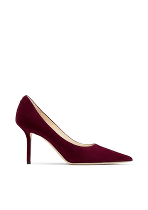 LOVE 85 Bordeaux Suede Pointed Toe Pumps with JC Button