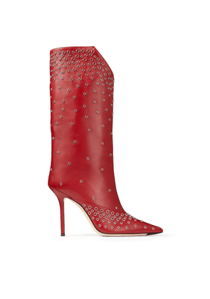 BRYNDIS 100 Red Nappa Leather Boots with Gold Eyelets