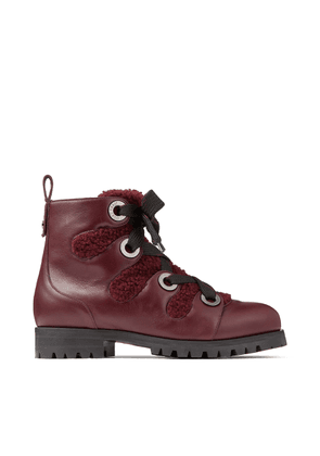 BEI FLAT Bordeaux Smooth Leather Ankle Boots with Shearling Lining and Metal Eyelets