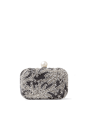 CLOUD Dusk Satin Clutch Bag with Pearl and Crystal Embroidery