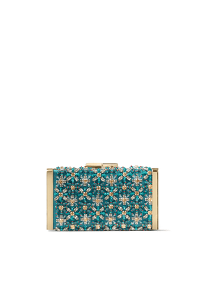 J BOX Dark Teal Satin Clutch Bag with Crystal Embroidery