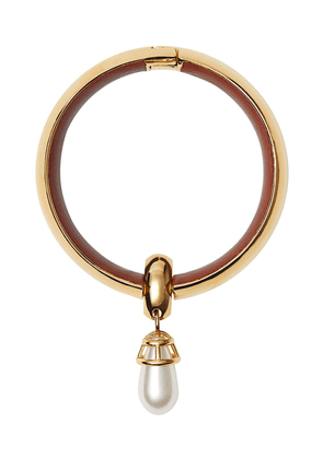 Burberry Faux Pearl Detail Lambskin and Gold-plated Bangle
