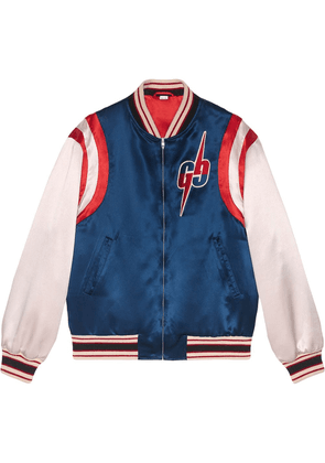 Gucci Acetate bomber jacket with GG Blade - Blue