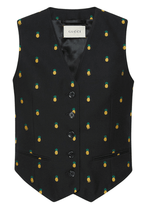 Gucci Pineapple fil coupé wool vest - Black
