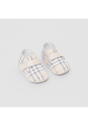 Burberry Childrens Check Cotton and Leather Booties, Size: 15, Beige