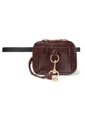 See By Chloé - Tony Snake-effect Leather Belt Bag - Burgundy