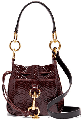 See By Chloé - Tony Small Snake-effect Leather Bucket Bag - Burgundy