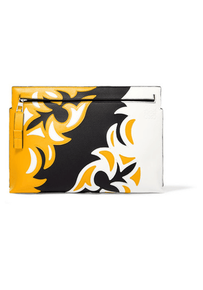 Loewe - T Paneled Leather Pouch - Yellow