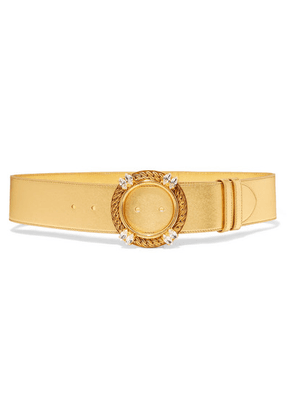Miu Miu - Crystal-embellished Metallic Leather Belt - Gold