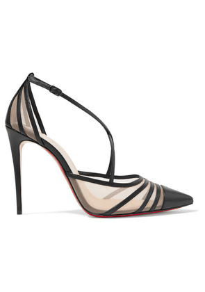 Christian Louboutin - Theodorella 100 Leather And Mesh Pumps - Black