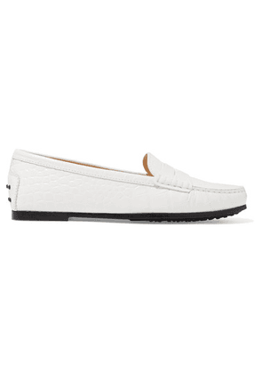Tod's - Gommino Croc-effect Leather Loafers - White