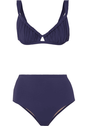Three Graces London - Bridget Ruched Bikini - Navy