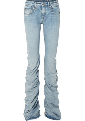 R13 - Shirring Boy Boot Ruched Distressed Mid-rise Jeans - Light denim