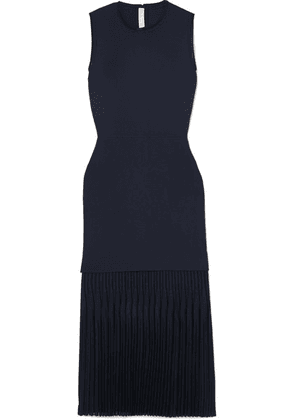 Dion Lee - Pleated Bonded Stretch-crepe Midi Dress - Navy