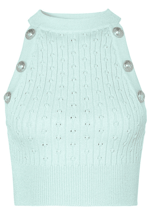 Balmain - Button-embellished Cropped Ribbed Pointelle-knit Tank - Light green