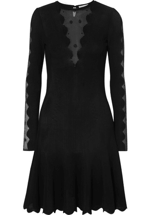 Alexander McQueen - Lace-paneled Ribbed-knit Dress - Black